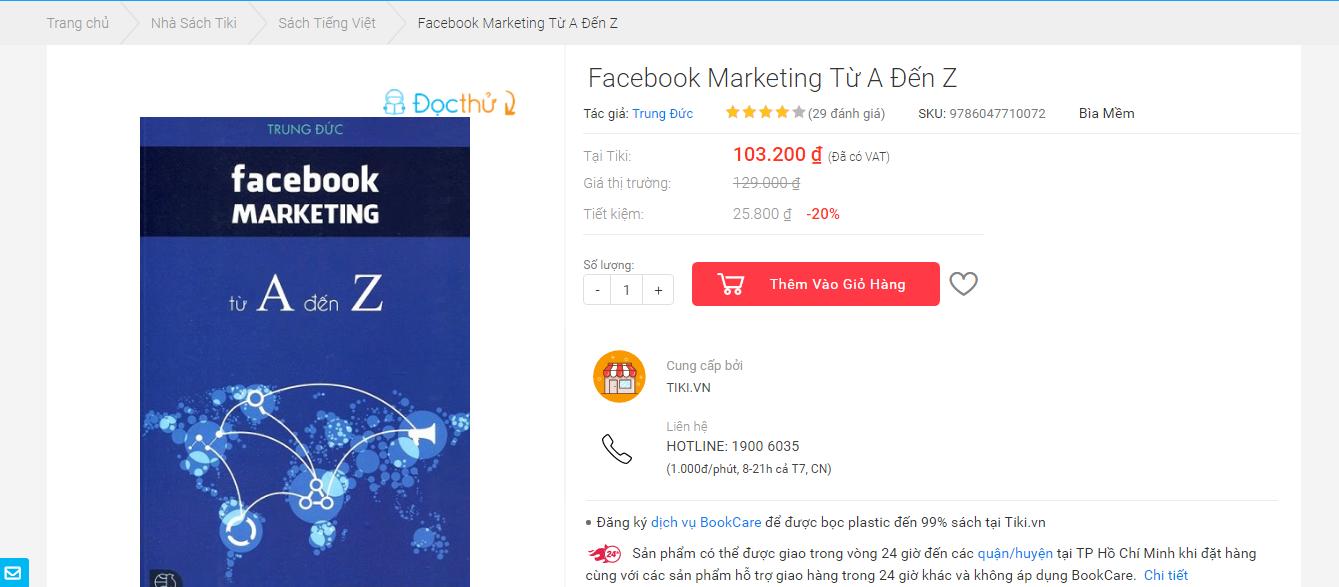 """Tiki.vn đưa """"Facebook Marketing A-Z"""" trở thành Best Seller sau 1 tháng ra mắt 1"""