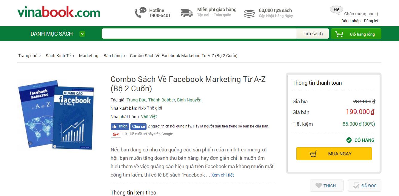 """Photo Lựa chọn Vinabooks - kênh phân phối sách hàng đầu cho chiến dịch ra mắt sách """"Quảng cáo Facebook A-Z"""" 1"""