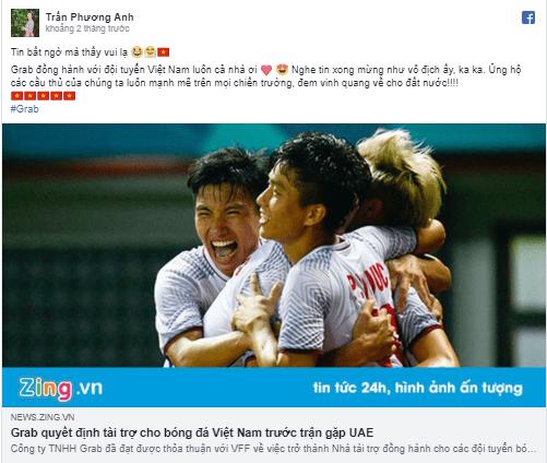 Grab đồng hành với đội tuyển Việt Nam luôn cả nhà ơi